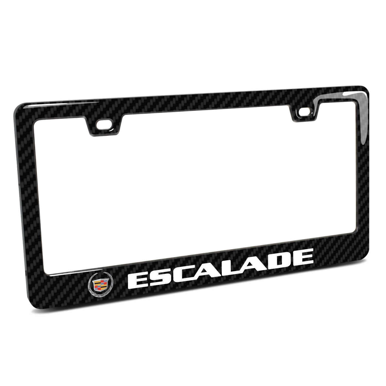 Cadillac Escalade Logo in 3D on Real 3K Carbon Fiber Finish ABS Plastic License Plate Frame