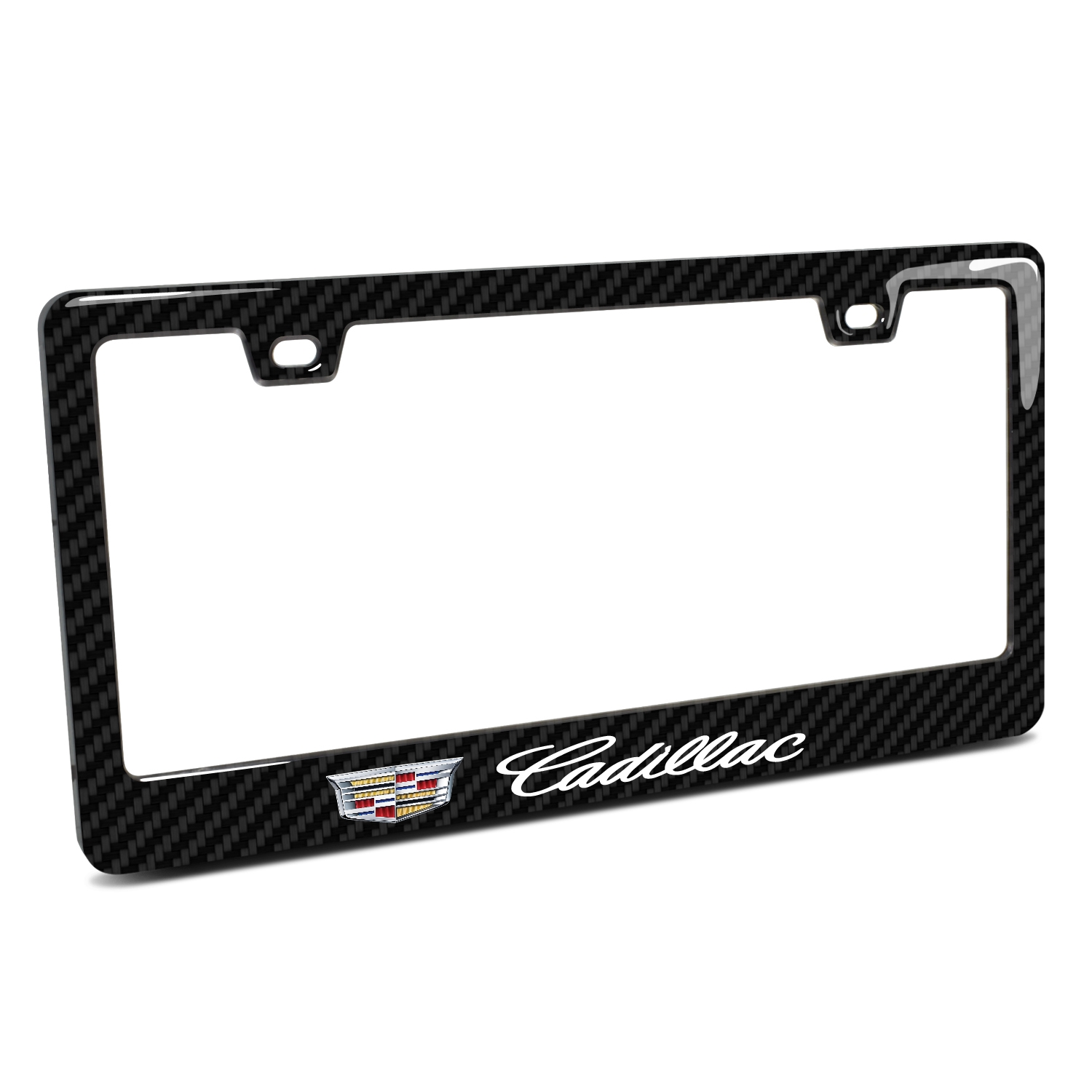 Cadillac Crest Logo in 3D on Real 3K Carbon Fiber Finish ABS Plastic License Plate Frame