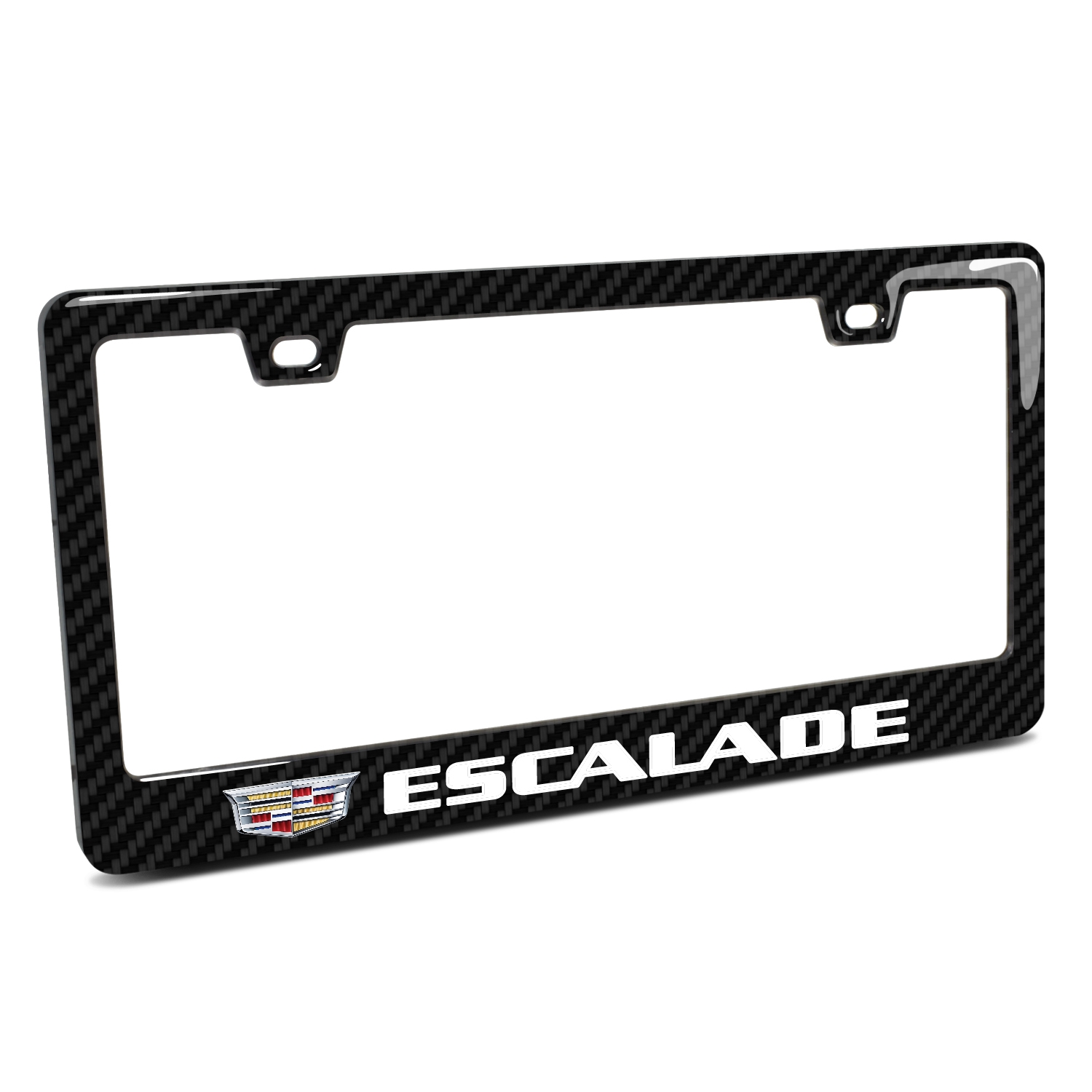 Cadillac Escalade Crest Logo in 3D on Real 3K Carbon Fiber Finish ABS Plastic License Plate Frame