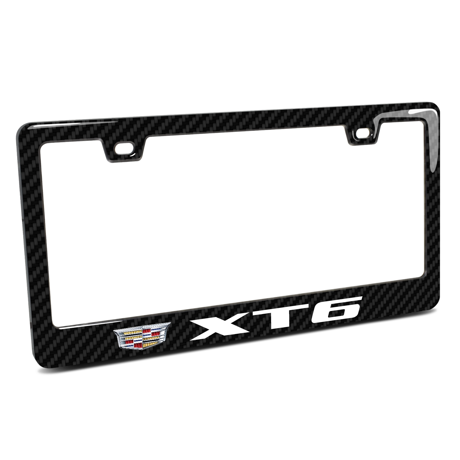 Cadillac XT6 in 3D on Real 3K Carbon Fiber Finish ABS Plastic License Plate Frame