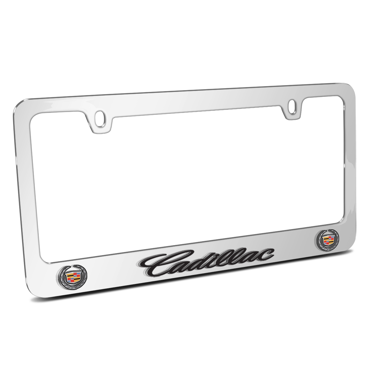 Cadillac 3D Embossed Dual Logo Mirror Chrome Metal License Plate Frame