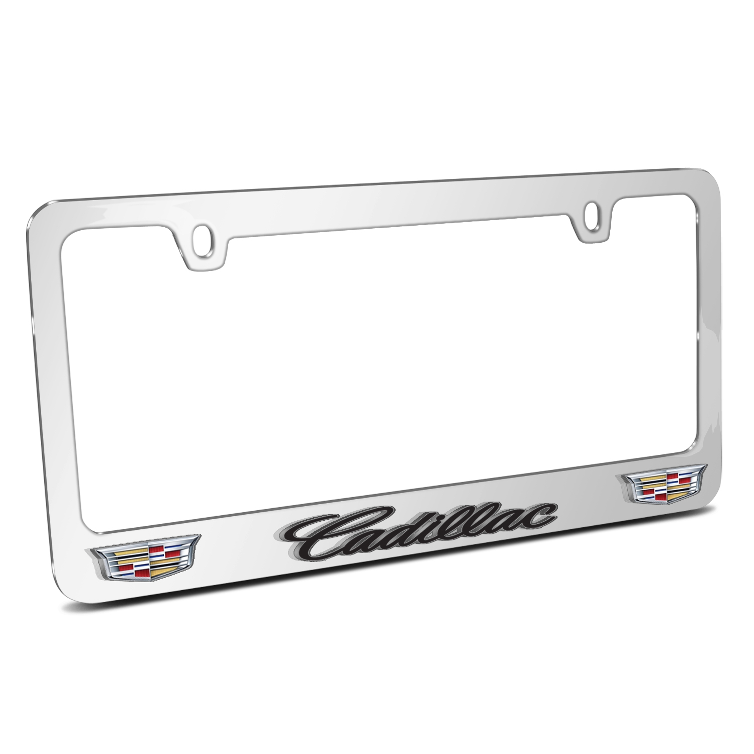 Cadillac 3D Embossed Dual Crest Logo Mirror Chrome Metal License Plate Frame