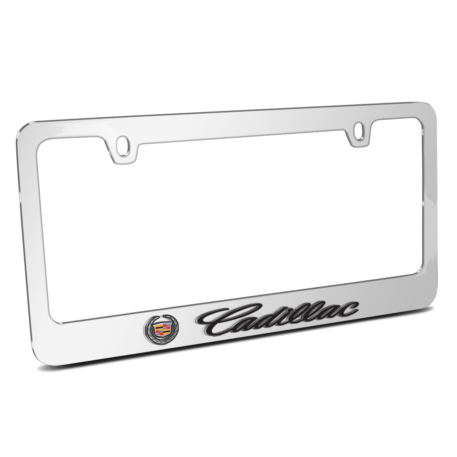 Cadillac 3D Embossed Logo Mirror Chrome Metal License Plate Frame