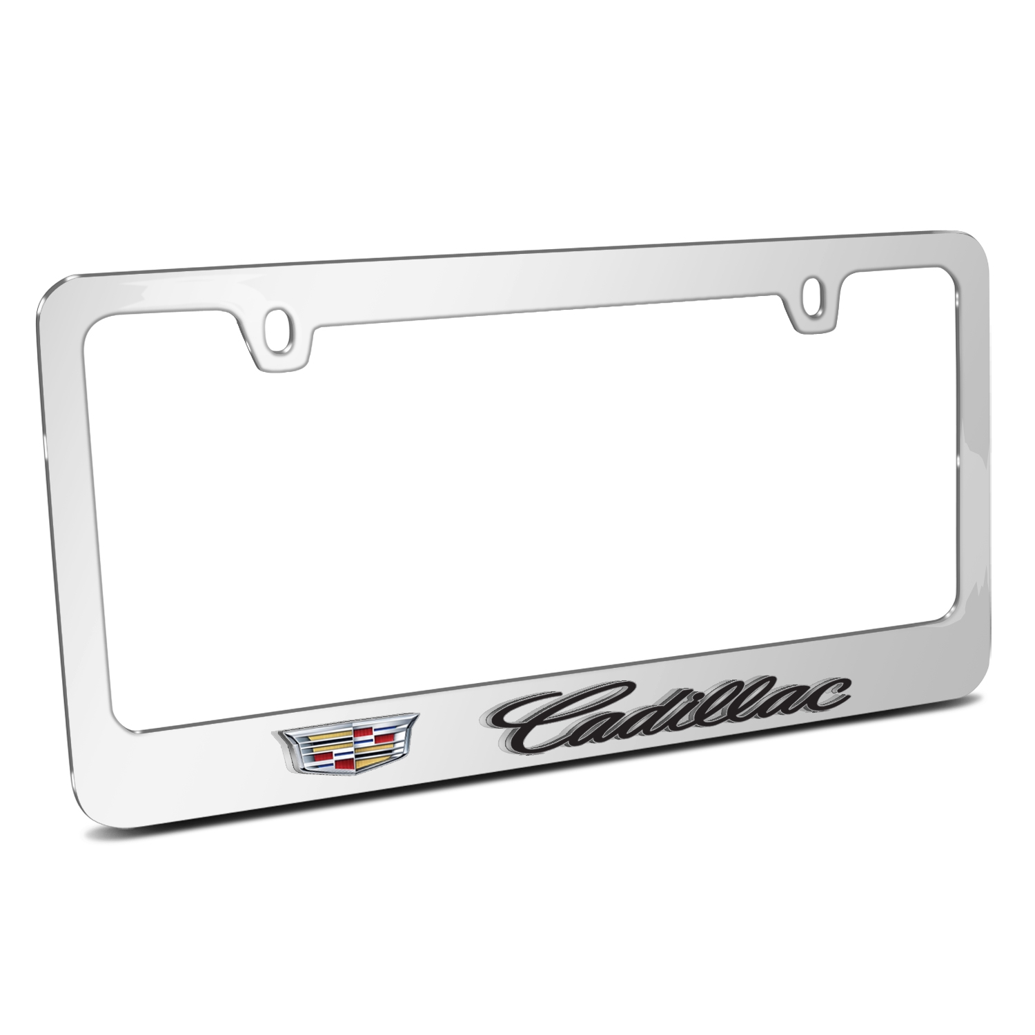 Cadillac 3D Embossed Crest Logo Mirror Chrome Metal License Plate Frame