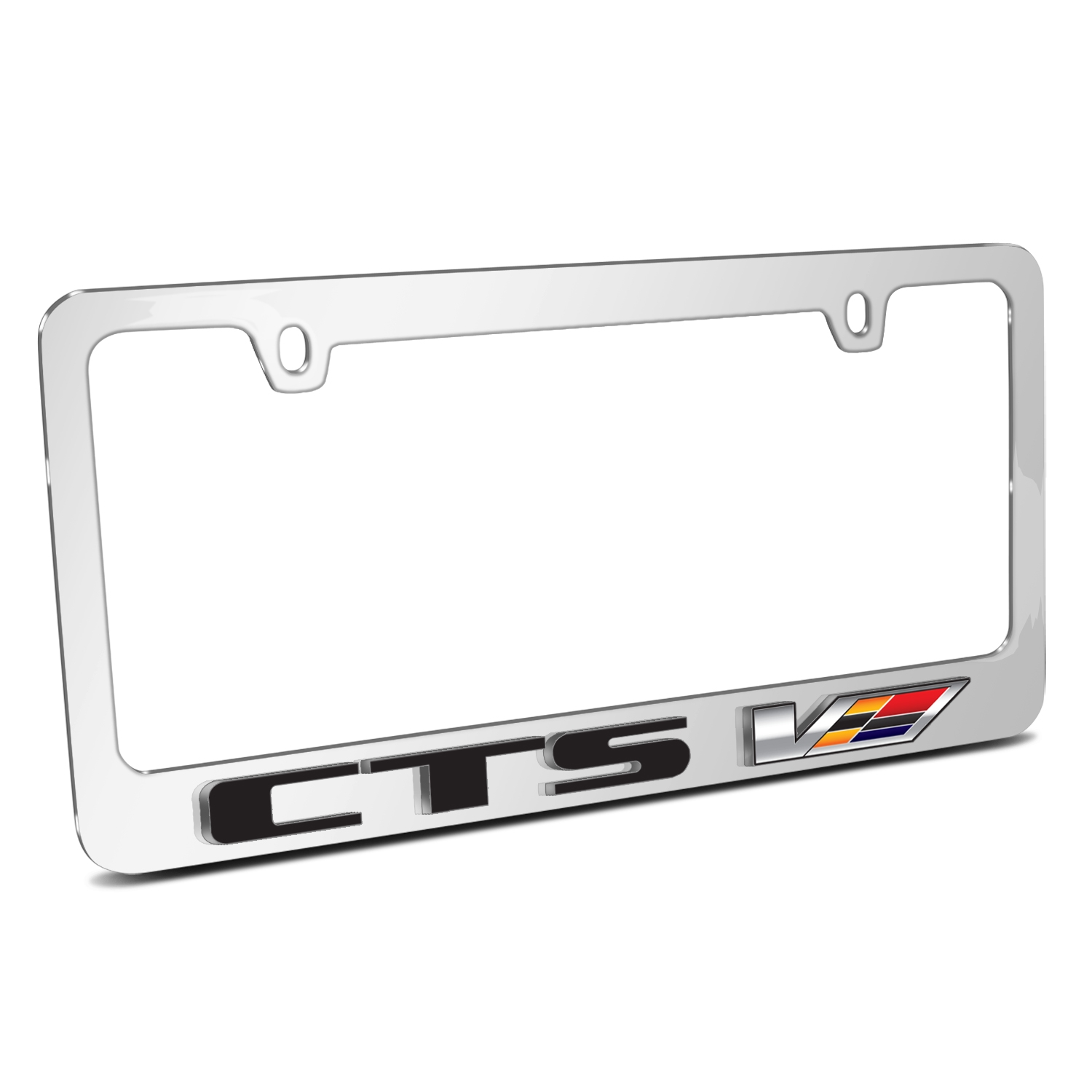 Cadillac CTS V 3D Embossed Logo Mirror Chrome Metal License Plate Frame