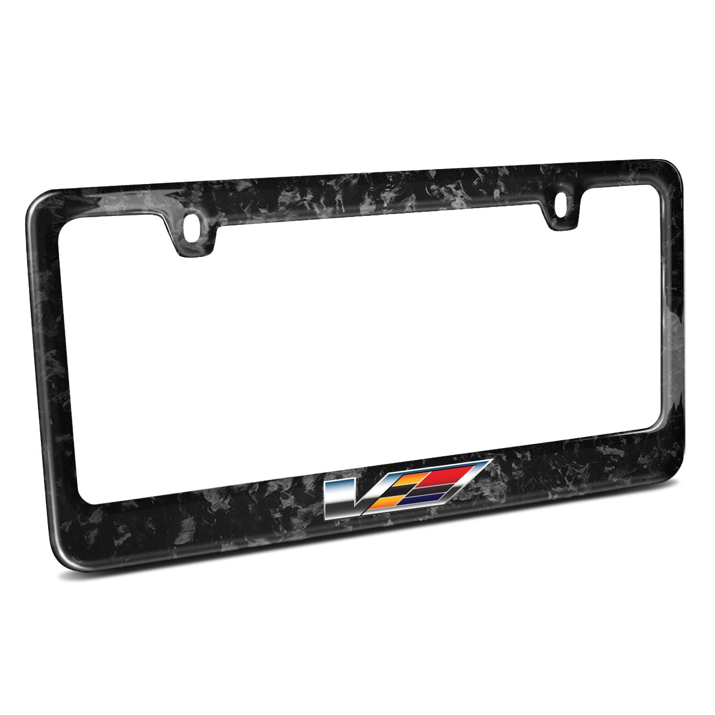 Cadillac V Logo Real Black Forged Carbon Fiber License Plate Frame