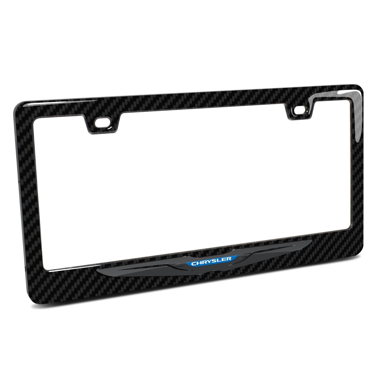 Chrysler Logo in 3D Black on Black Real 3K Carbon Fiber Finish ABS Plastic License Plate Frame