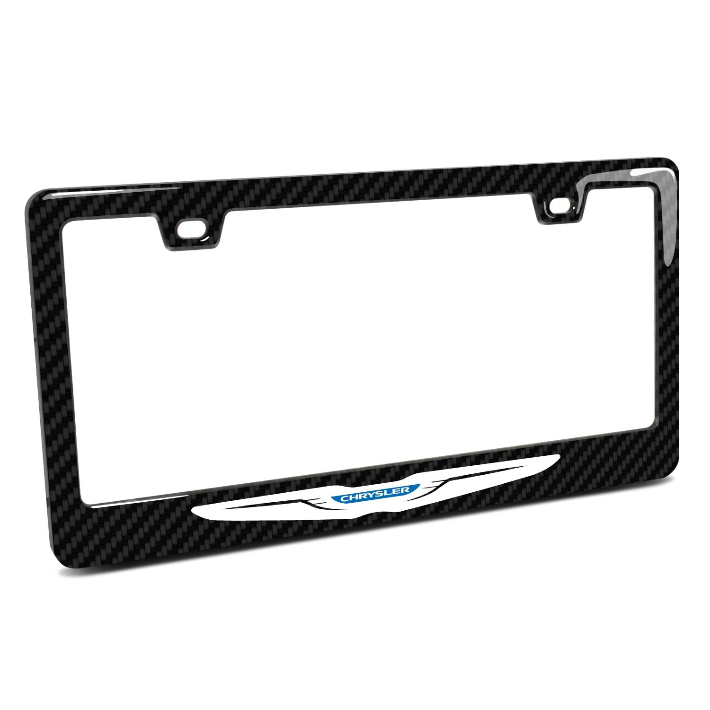 Chrysler Logo Black Real 3K Carbon Fiber Finish ABS Plastic License Plate Frame