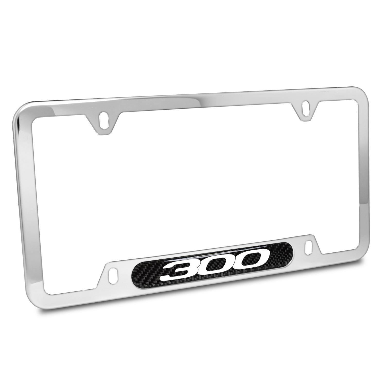 Chrysler 300 Real Carbon Fiber Nameplate Chrome Stainless Steel License Plate Frame