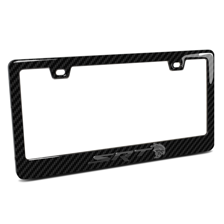 Dodge SRT Hellcat in 3D Black on Black Real 3K Carbon Fiber Finish ABS Plastic License Plate Frame