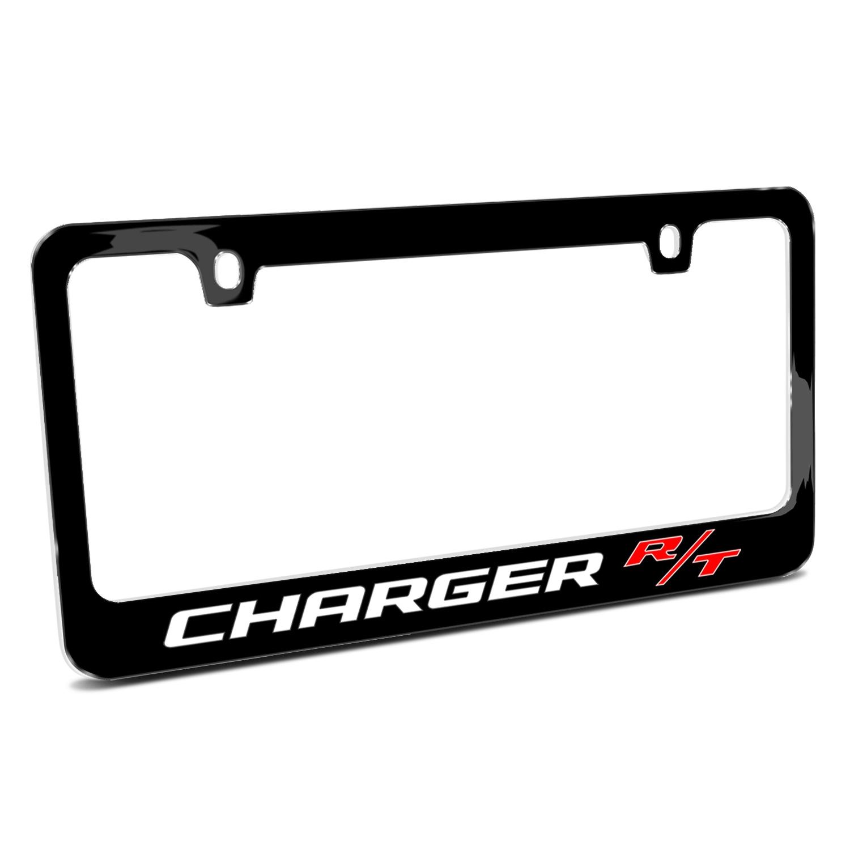 Dodge Charger R/T Black Metal License Plate Frame