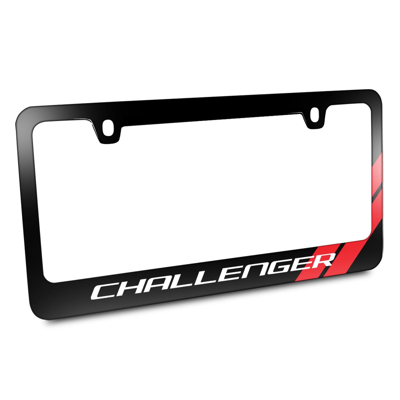 Dodge Challenger Red Stripe Black Metal License Plate Frame