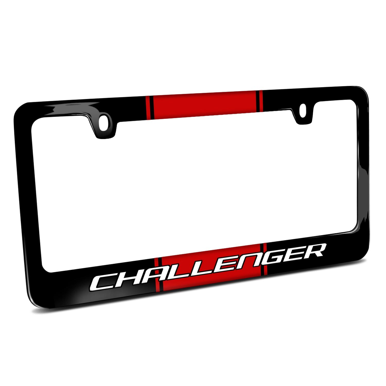 Dodge Challenger Racing Stripe Black Metal License Plate Frame
