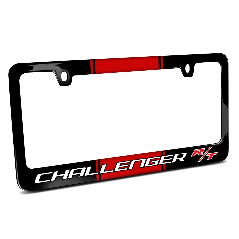 Dodge Challenger R/T Racing Stripe Black Metal License Plate Frame