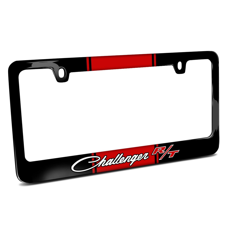 Dodge Challenger R/T Classic Racing Stripe Black Metal License Plate Frame