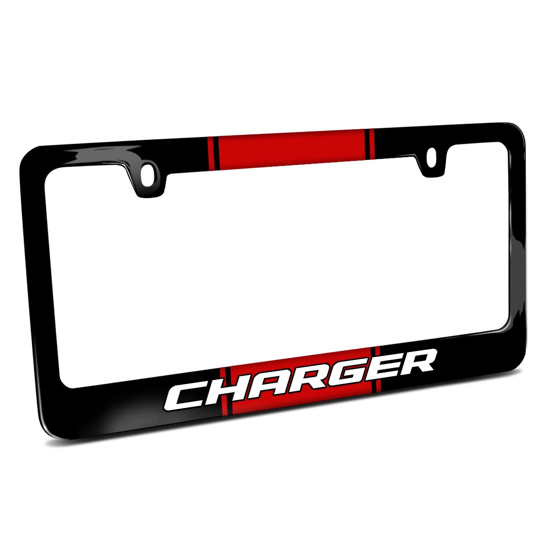 Dodge Charger Racing Stripe Black Metal License Plate Frame