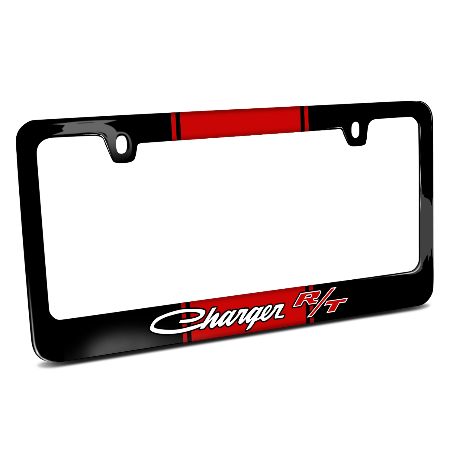Dodge Charger R/T Classic Racing Stripe Black Metal License Plate Frame
