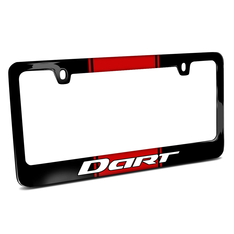 Dodge Dart Racing Stripe Black Metal License Plate Frame
