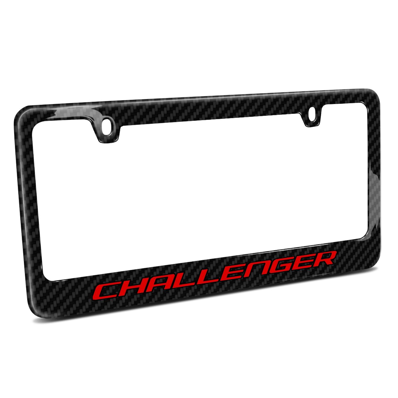 Dodge Challenger in Red Black Real Carbon Fiber License Plate Frame