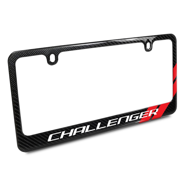 Dodge Challenger Red Stripe Real Black Carbon Fiber License Plate Frame