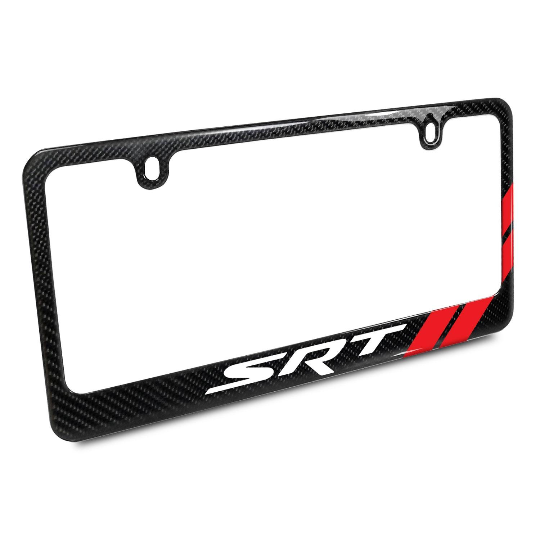 Dodge SRT Red Stripe Real Black Carbon Fiber License Plate Frame
