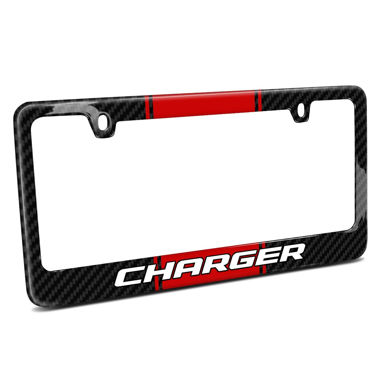 Dodge Challenger R/T Red Racing Stripe Black Real Carbon Fiber License Plate Frame