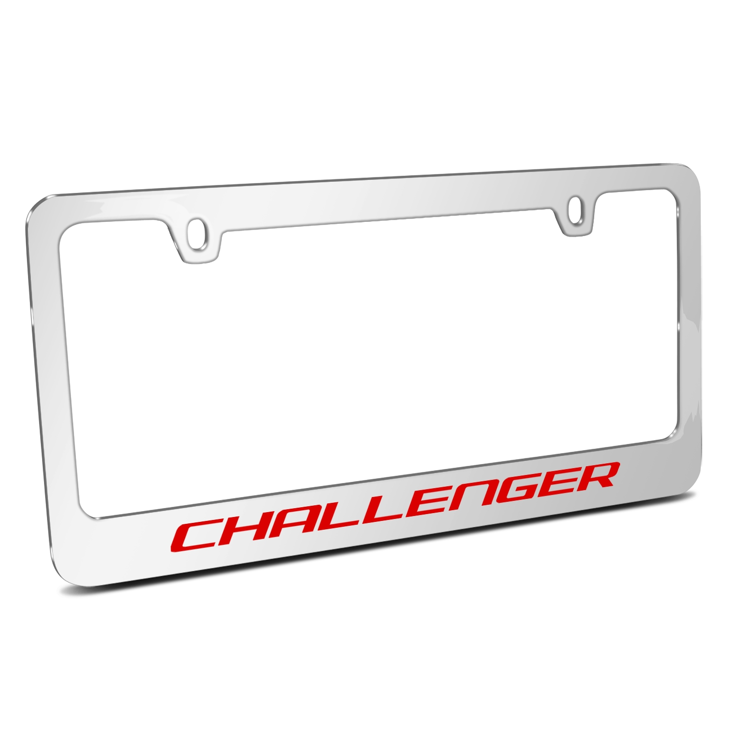 Dodge Challenger in Red Mirror Chrome Metal License Plate Frame