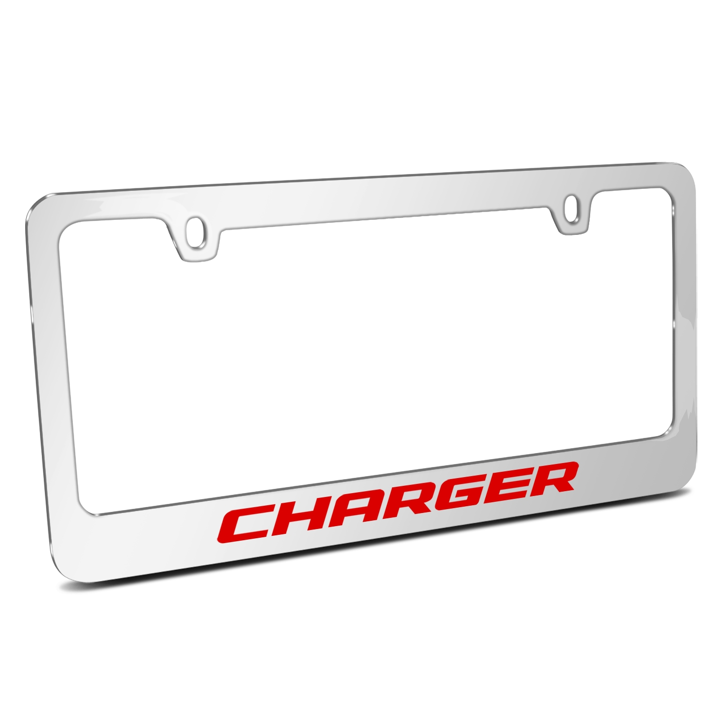 Dodge Charger in Red Mirror Chrome Metal License Plate Frame