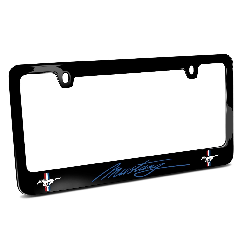 Ford Mustang Script in Blue Dual Logos Black Metal License Plate Frame