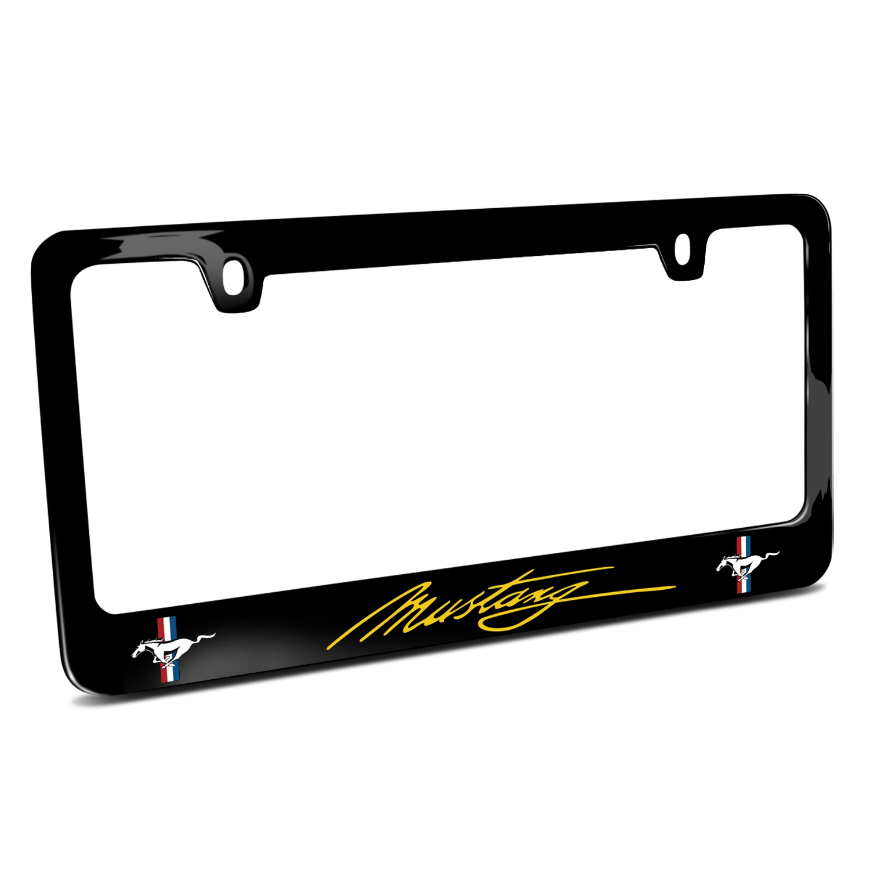 Ford Mustang Script in Yellow Dual Logos Black Metal License Plate Frame