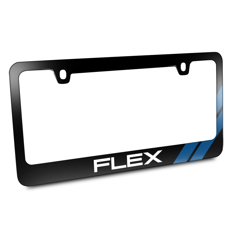 Ford Flex Blue Sports Stripe Black Metal License Plate Frame