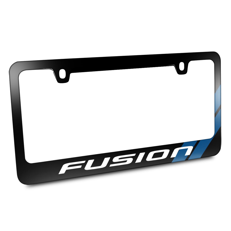 Ford Fusion Blue Sports Stripe Black Metal License Plate Frame