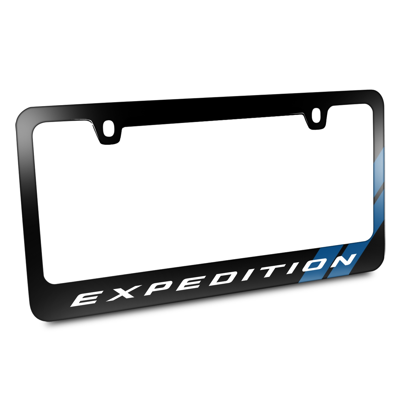 Ford Expedition Blue Sports Stripe Black Metal License Plate Frame