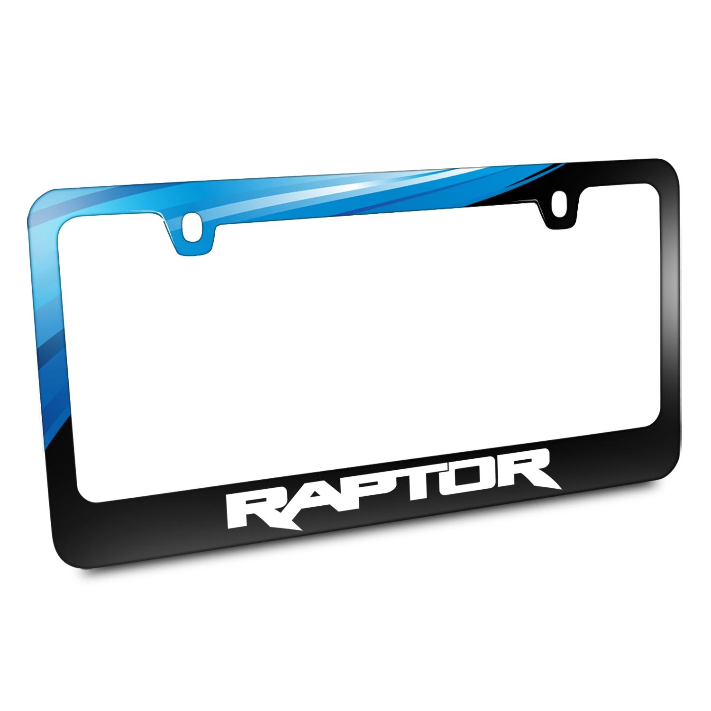 Ford Logo F-150 Raptor Black Metal Graphic License Plate Frame