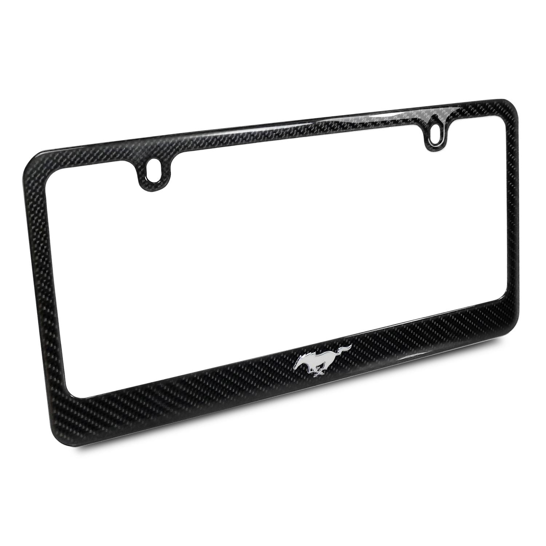 Ford Mustang Pony 3d Chrome Emblem Black Carbon Fiber License Plate Frame
