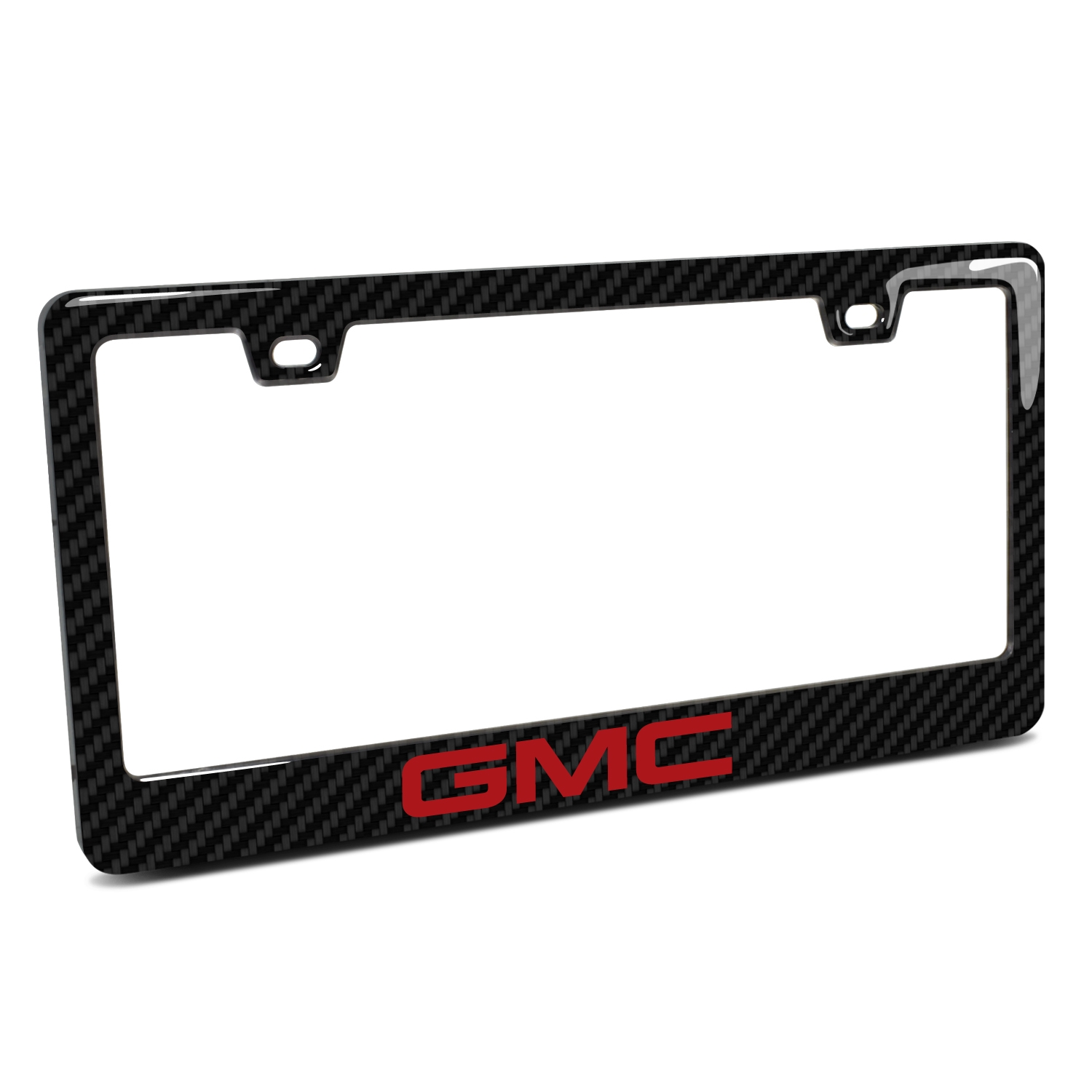 GMC in Red in 3D on Real 3K Carbon Fiber Finish ABS Plastic License Plate Frame