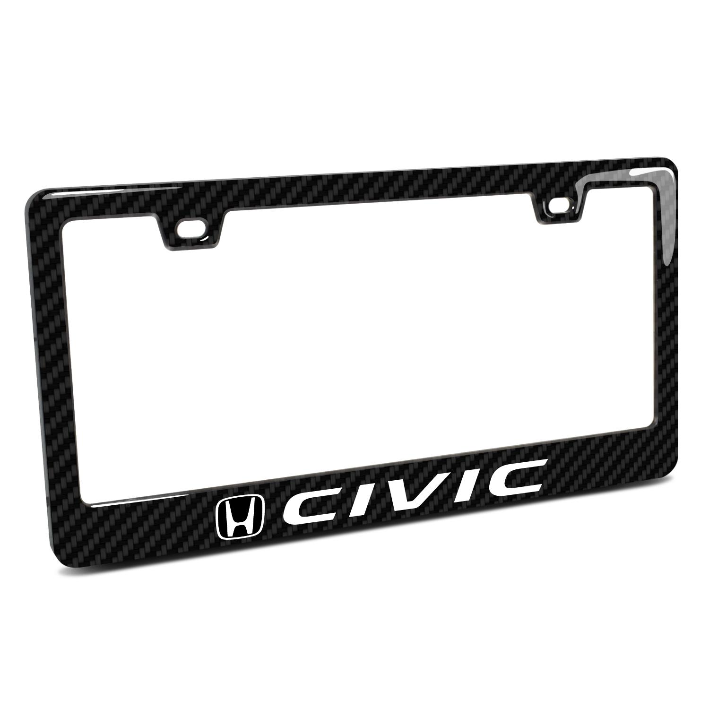Honda Civic Black Real 3K Carbon Fiber Finish ABS Plastic License Plate Frame