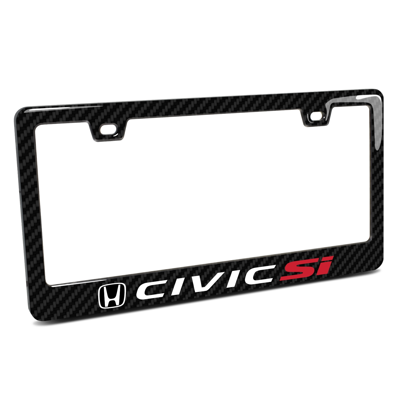 Honda Civic Si Black Real 3K Carbon Fiber Finish ABS Plastic License Plate Frame