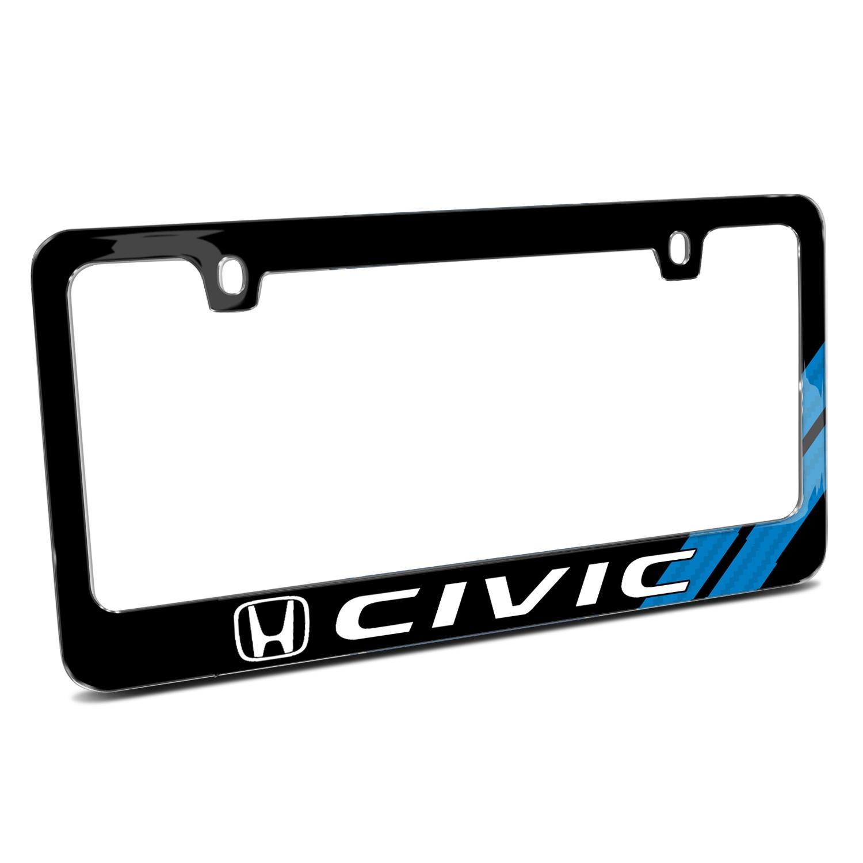 Honda Civic Blue Carbon Fiber Texture Stripe Black Metal License Plate Frame