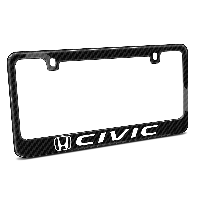 Honda Civic Black Real Carbon Fiber License Plate Frame