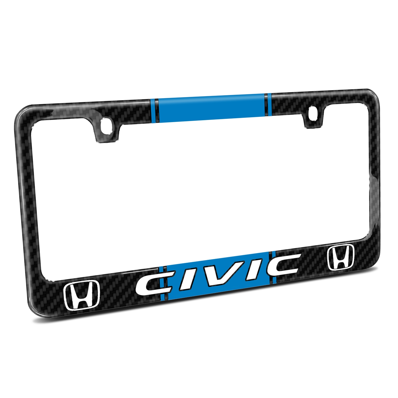 Honda Civic Blue Racing Stripe Black Real Carbon Fiber License Plate Frame