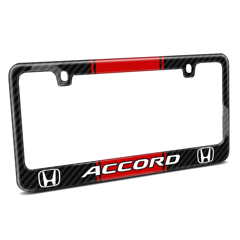 Honda Accord Red Racing Stripe Black Real Carbon Fiber License Plate Frame