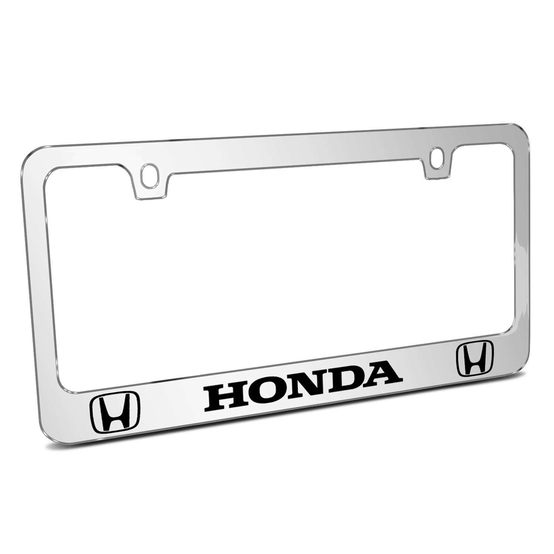Honda Logo Dual Logo Mirror Chrome Metal License Plate Frame