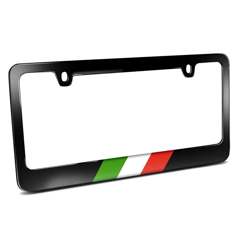 Italy Flag Sports Stripe Black Metal License Plate Frame