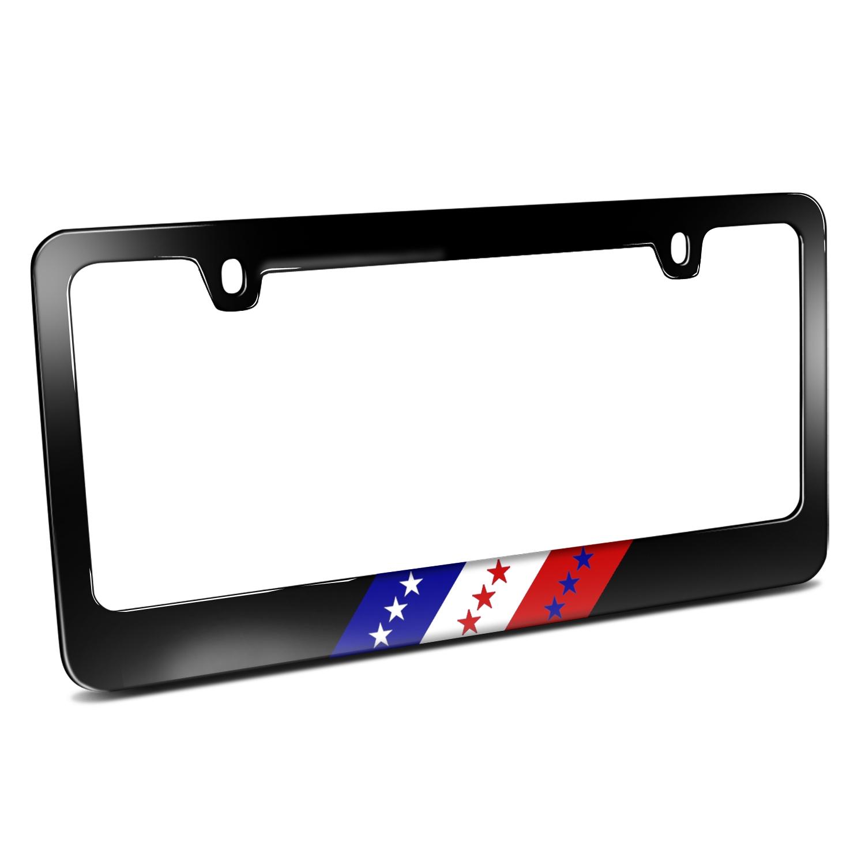 USA American Flag Sports Stripe Black Metal License Plate Frame