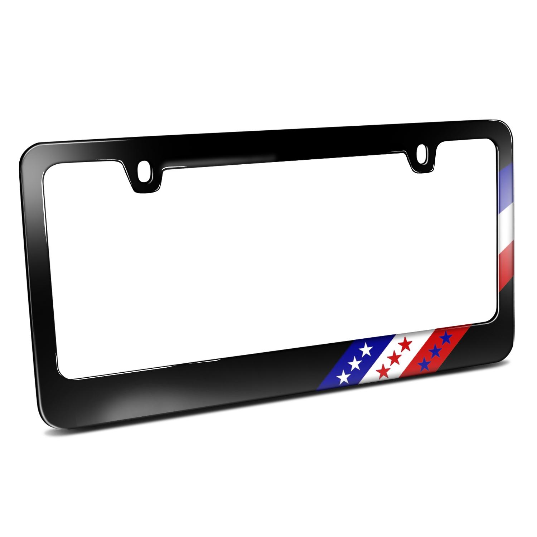 USA American Flag Off-center Sports Stripe Black Metal License Plate Frame