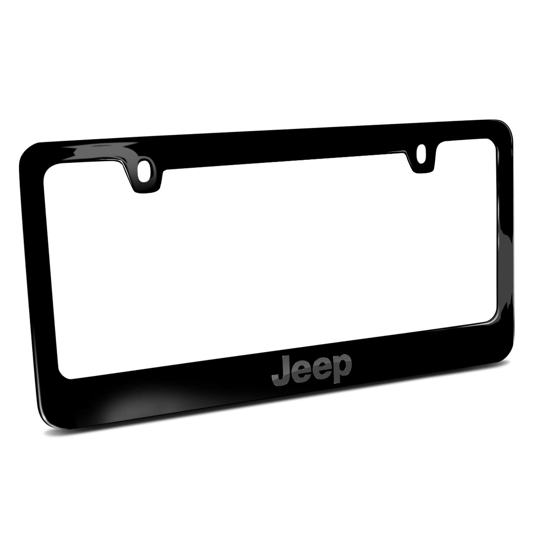 Jeep in 3D Black on Black Metal License Plate Frame