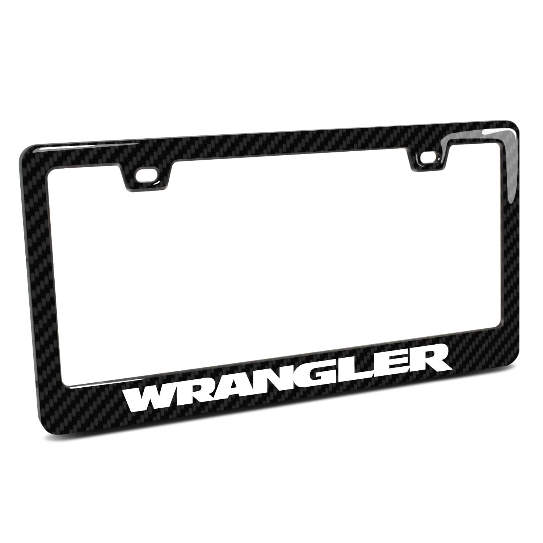 Jeep Wrangler Black Real 3K Carbon Fiber Finish ABS Plastic License Plate Frame