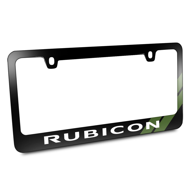 Jeep Rubicon Green Stripe Black Metal License Plate Frame