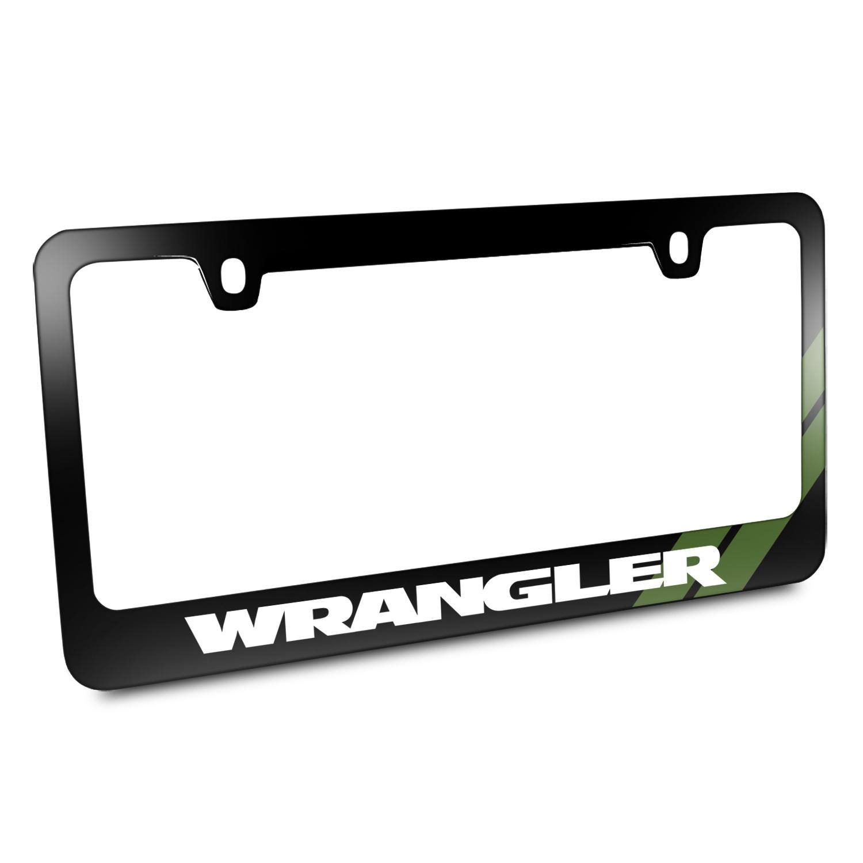 Jeep Wrangler Green Stripe Black Metal License Plate Frame